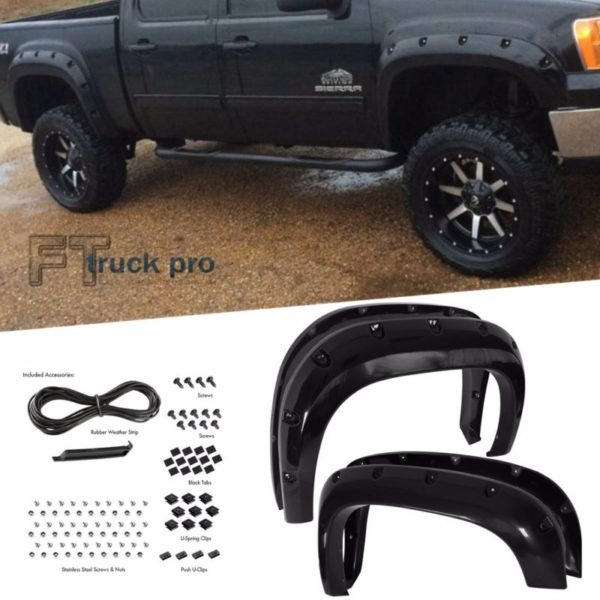 PAINTABLE-2007-2013-GMC-Sierra-1500-Pocket-Riveted-Fender-Flares-Cover-Smooth-0