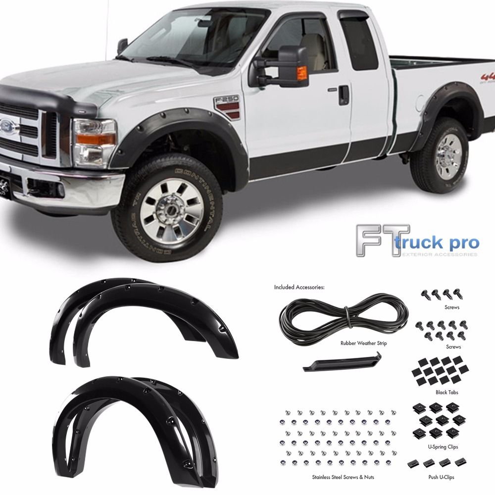 Paintable 2008 2010 Ford F250 F350 Hd Pocket Riveted Fender Flares Cover Smooth Auto Body Sales