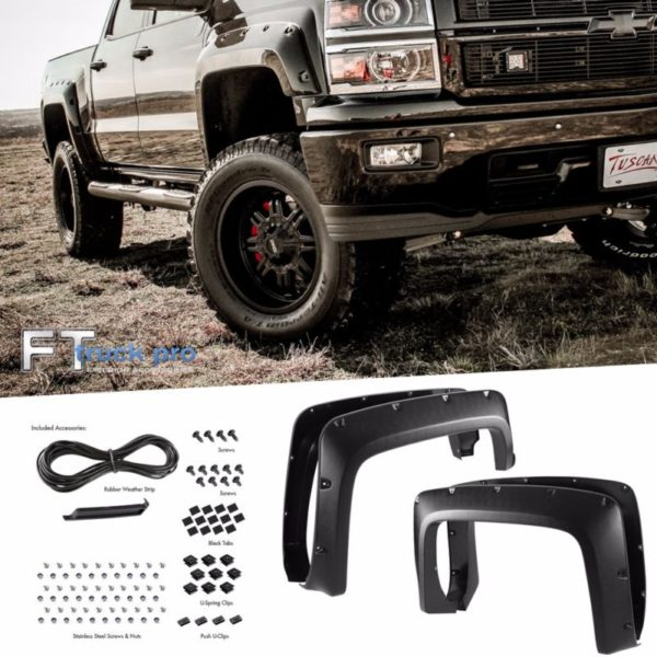 TEXTURED-2014-2016-CHEVY-SILVERADO-1500-68-Bed-Pocket-Riveted-Fender-Flares-0